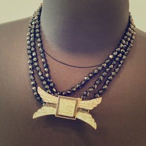 Gorgeous bulk jet beaded necklace with brooch